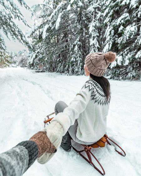 The perfect snowy look for sledding time!