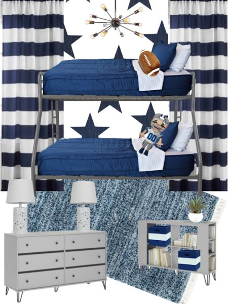 Cade's big boy football room 🏈 This navy rug with white tassels is the softest rug in our house!! ☁️☁️ . .  http://liketk.it/37EZM #liketkit @liketoknow.it #LTKhome #LTKfamily #LTKkids @liketoknow.it.home @liketoknow.it.family rugs, room decor, bedroom decor, home decor, bedroom furniture, bunk beds, kids rooms, big kid room, navy decor, curtains, bedding, pillows
