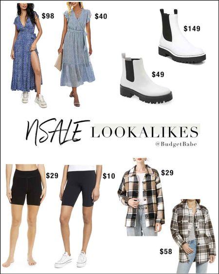 A few #nsale lookalikes, white lug sole boots, free people maxi dress, plaid shacket and bike shorts http://liketk.it/3kh9e #liketkit @liketoknow.it #LTKsalealert #LTKunder50 #nordstrom