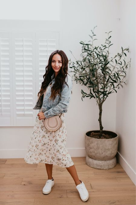 Fall outfit : transition into fall with a floral midi dress , light denim jacket , and white sneakers and neutral Chloe crossbody // home faux olive tree and plant pot   #LTKhome #LTKitbag #LTKshoecrush
