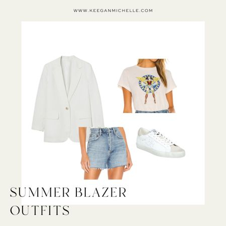 Casual summer blazer outfit Graphic tee High rise jean shorts Sneakers  http://liketk.it/3k5Wo @liketoknow.it #liketkit