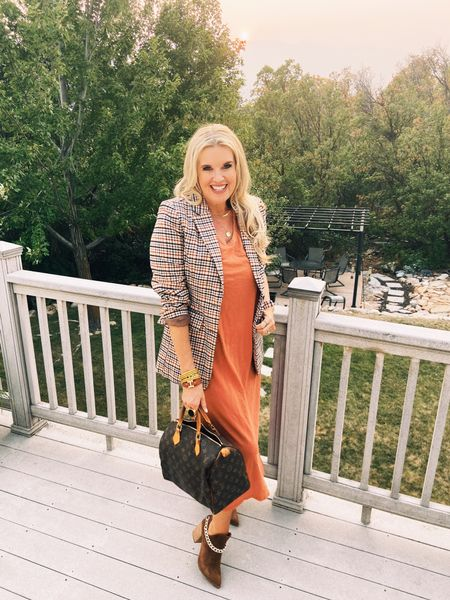 Summer into Fall🍂🍁 Summer shirt dress… styled for Fall… easy as adding a blazer, booties and your favorite jewelry Nd bag✔️ 🍂🍁🍂🍁 . .   #LTKstyletip #LTKSeasonal #LTKitbag