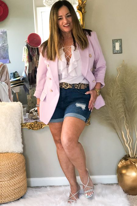 Totally Loving all things lavender! I love the combination of shorts with blazers!  My denim distressed shorts #gifted from @royaltybyme are super soft with incredible stretch for curvy figures!  Great Price too!. My blazer is linked but my camisole is from 2 years ago at Nordstrom. So I linked several options for you. What is everyone watching on Netflix? . . . . . . http://liketk.it/3cxpI #LTKSpringSale #LTKtravel #LTKstyletip #liketkit @liketoknow.it.family @liketoknow.it.home @liketoknow.it Download the LIKEtoKNOW.it shopping app to shop this pic via screenshot