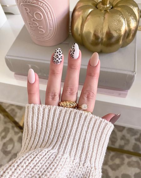 First fall mani of the season 🐆🤍   gold rings, leopard rug, office, coffee table books, diptyque  #LTKbeauty #LTKunder100 #LTKunder50