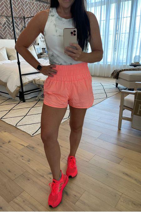 Comfiest shorts $30- many colors: size up if between sizes. Wearing medium   Tie dye tank on sale   Hot pink ultra boost size down 1/2 size http://liketk.it/3hbhD #liketkit @liketoknow.it #LTKshoecrush #LTKsalealert #LTKfit
