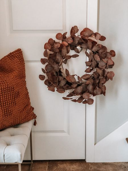 All the rust colors. Wreath and autumn pillow   #LTKhome #LTKunder50 #LTKSeasonal