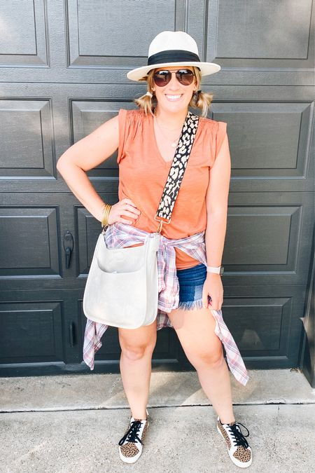 One of my favorite things about Fall is the weather. I just want to be outside all the time. What's your favorite season?// I love this mixing and matching fall styles and everything from this outfit is crazy affordable! Shoes = forever 21 Top= the Loft Shorts = amazon  Hat = amazon    #LTKunder50 #LTKstyletip #LTKSeasonal