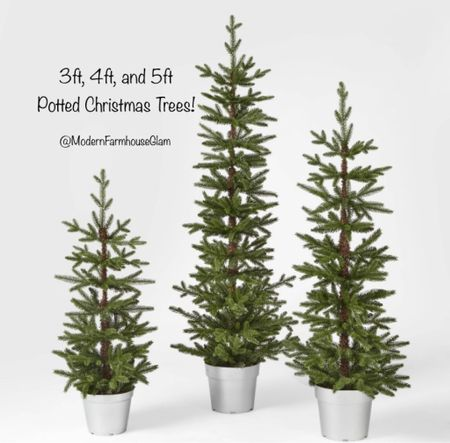 3 foot, 4 foot, and 5 foot unlit balsam fir potted Christmas trees! So cute! Christmas decorations, home decor, Christmas tree, modern farmhouse glam.  #LTKSeasonal #LTKhome #LTKHoliday