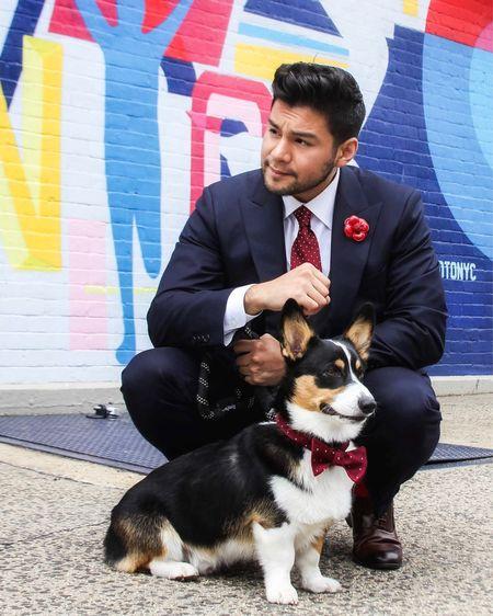 Dandy #internationaldogday with @cudithecorgi. Be sustainable with pets and adopt. 🐶   #happyinternationaldogday   Pet. Dog. Menswear. Tie. Bow tie.    #LTKunder50 #LTKmens http://liketk.it/2Vjyu #liketkit @liketoknow.it