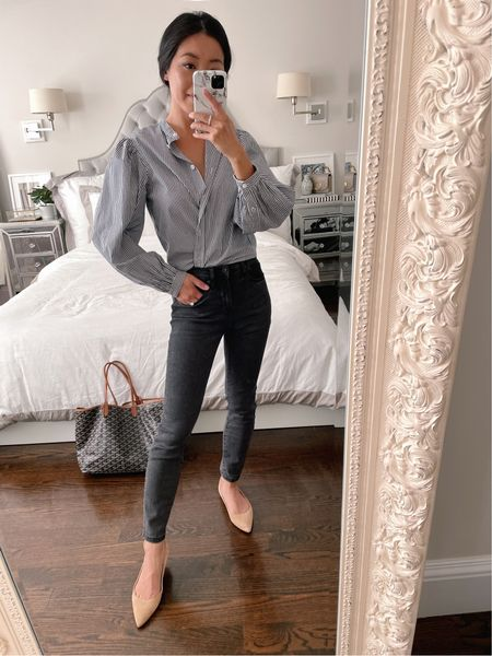 business casual fall outfit // work outfit ideas  •J.Crew shirt 00 •Everlane jeans 24 ankle (very similar pair linked) •Sam Edelman flats (similar linked)  #LTKSeasonal #LTKworkwear #LTKstyletip