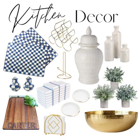 In need of chic kitchen decor?   These gold, white and blue themed home decor items are all under $100, most under $50!  #LTKstyletip #LTKunder100 #LTKhome