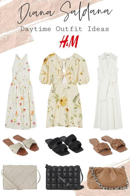 Diana Saldana Daytime outfit ideas from h&M. Love these sandals I always order my true size!   #LTKSeasonal #LTKunder50 #LTKstyletip