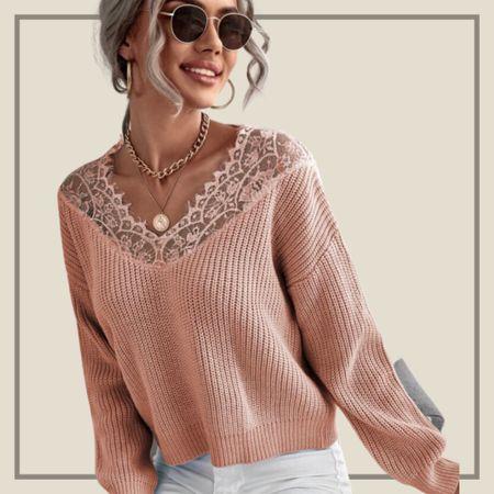 Contrast lace ribbed knit sweater   #LTKstyletip #LTKunder50