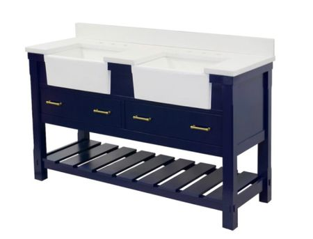 Memorial Day Weekend Sale,, Save Big —-this stunning navy blue modern farm house bath sink has two aprons and is made from solid wood and plywood. The brass hardware and ceramic sink are top-notch.   #LTKsalealert #LTKhome
