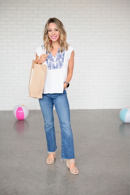 White embroidered top with jeans and wedges and weekend tote.   Use me code HONEY15 for 15% off Gibson   I'm wearing and XXS in this top and it fits perfectly  Jeans Fit: I'm wearing a 0   http://liketk.it/3hLOv #liketkit @liketoknow.it #LTKshoecrush #LTKstyletip #LTKsalealert