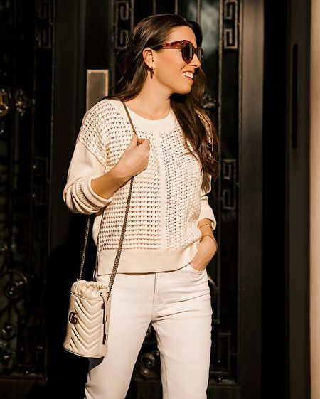 Crochet sweater in size Small, ivory sweater, white jeans, casual outfit weekend style   #LTKsalealert #LTKstyletip #LTKunder50