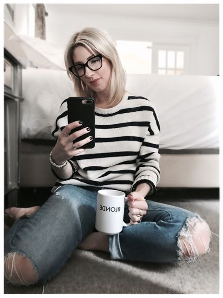 Work-at-home wear 👓💻☕️ Can't wait for the @robsonstreet fashion show tonight! I guess I'll have to change 😕 I've linked a few similar striped sweaters and these exact boyfriend jeans that I LIVE in 😍 http://liketk.it/2qyTi @liketoknow.it #liketkit