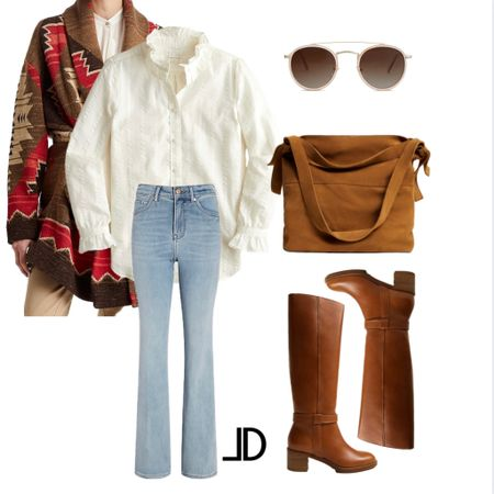 Designer Look Fall looks Fall outfit ideas   Mid price point  Under $100   Southwestern Ralph Lauren  J Crew Ruffe collar top High waist flare jeans MANGO leather boots MANGO leather bucket bag Sunglasses       _______ #falloutfit #designer #falloutfits2021  Business Casual Old Navy Deals Walmart Finds Target Looks #GapHome Shein Haul Nordstrom Sale  Wedding Guest Dresses Plus Size Fashions Back to School #laurenkaysims #laurabeverlin #champagneandchanel #emilyandgemma #dressupbuttercup #almost_readyblog Fall outfit, jeans, cowboy boots, fall outfit inspiration, fall outfit with boots, fall outfit inspo, fall fashion outfits#LTKSeasonal