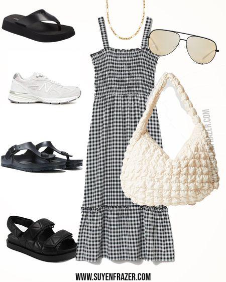 Plus-size minimal black/white dress, dad chunky sneakers, slippers, dad sandals, big white bag, and gold jewelry #plussize #springoutfit http://liketk.it/3e7qJ #liketkit @liketoknow.it #LTKcurves #LTKitbag #LTKstyletip @liketoknow.it.europe @liketoknow.it.family