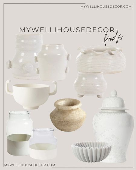 Vases for days! Great for shelving styling, coffee table decor and more!   Use my code MYWELLIHOUSEDECOR for 10% off 🤍 Coffee table decor, shelf decor, vases, pots, ginger jars, color block glass  #LTKsalealert #LTKhome