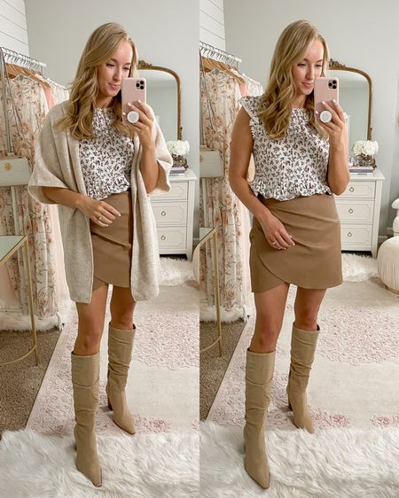 Cute fall outfit ideas!   Leather skirt - medium  Top- is actually a dress (small)  Cardigan - small  Tall boots - size up a half size   http://liketk.it/2Xp4w #liketkit @liketoknow.it Target finds // style tips / LTKfall
