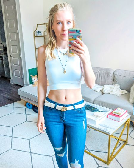 This white crop top is SUCH a good find, I'll probably be ordering it in other colors! It is double lined for coverage and is so soft and smooth. It seriously feels like it's from a luxury workout line and it's under $25! http://liketk.it/36SAb @liketoknow.it #liketkit #LTKSeasonal #LTKsalealert #LTKstyletip #LTKunder50 #LTKunder100 #LTKfit