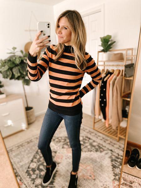 Long-Sleeve Mockneck Sweater Color: Black/Caramel Stripe/TTS/wearing a size S  #ifounditonamazon #amazonfashion #amazonfinds #outfitoftheday #ootd #outfitideas #outfitinspo #amazonsweater #amazonfallfashion #amazonwinterfashion   http://liketk.it/3q4L6 @liketoknow.it #liketkit #LTKbeauty #LTKfit #LTKstyletip #LTKSeasonal