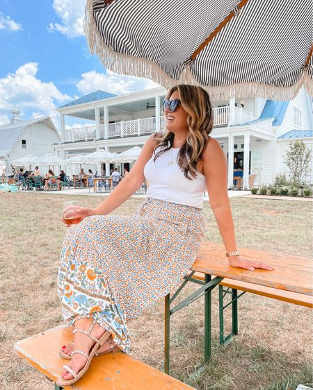 Summer maxi skirt outfit. Tank tts, sized up in the skirt for length, sandals tts. @liketoknow.it http://liketk.it/3jYc4 #liketkit #LTKunder100 #LTKunder50 #LTKstyletip