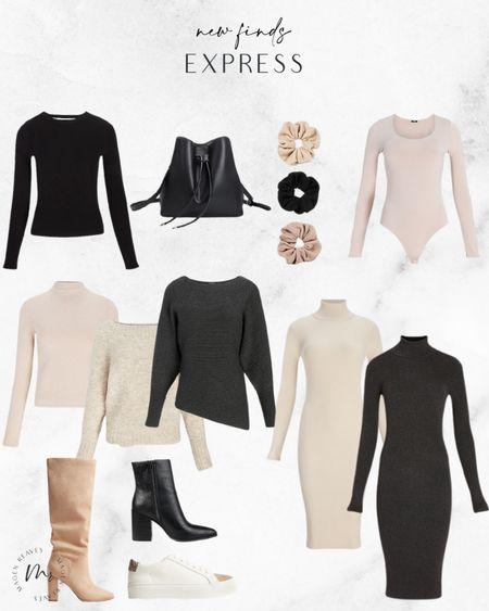 Express new finds sweater dress sweater dresses neutral clothes neutrals long sleeve dress long sleeve dresses boots booties http://liketk.it/3pDin @liketoknow.it #liketkit #LTKunder100 #LTKunder50