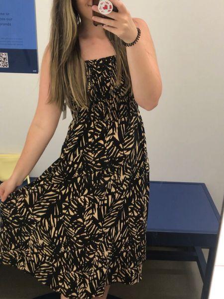 Smocked summer dress, around $30! Fits tts - wearing an xs  Would be great with a bump or a beach vacay!  http://liketk.it/3jJE2 #liketkit @liketoknow.it   #LTKunder50 #LTKstyletip #LTKsalealert