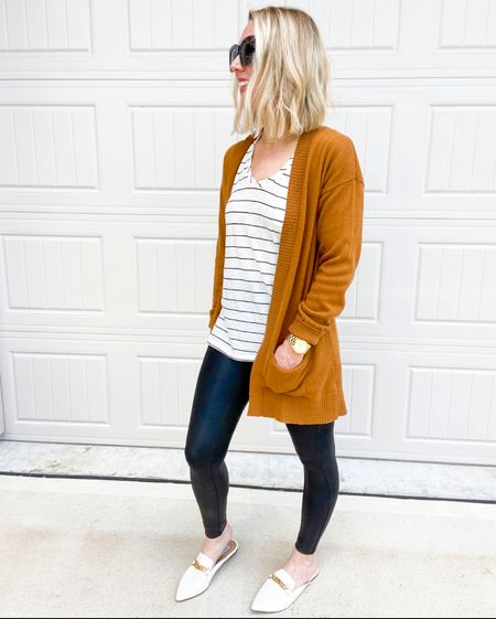 Cardigans and tees are perfect for layering in the Fall.   This tee has been a top seller - and it's one of my favorites too!    I've loved it so much I have it in several colors.  It's true to size - wearing here in size small.    Leggings in small petite        Fall fashion , fall outfit , casual style , weekend outfit , #ltkworkwear , teacher outfit , casual work style , #ltkshoecrush , Nordstrom style , Nordstrom finds , amazon fashion , cardigan  , cardigan sweater   #LTKunder50 #LTKstyletip #LTKSeasonal