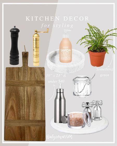 Kitchen decor, pepper mill, charcuterie board, marble tray, hand soap, Amazon finds, fern plant, salt cellar, salt & pepper grinders, oil dispenser, sugar bowl, home decor       #LTKhome