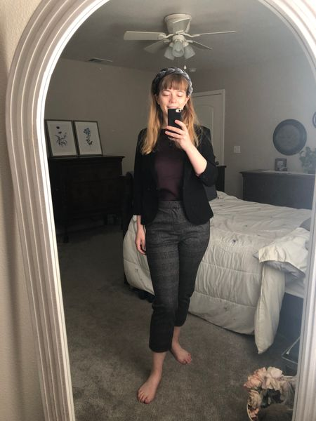Cropped gray pants combined with a black blazer and braided velvet gray headband all on sale this weekend   #LTKsalealert #LTKFall #LTKunder50