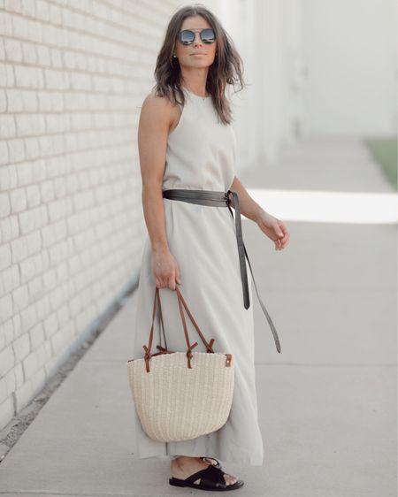 It's Friday! My dress is Zara, linked similar. Belt is @adacollection use code MANDY25 to get 25% off! http://liketk.it/3hSrn @liketoknow.it summer dress | vacation look | beach look | maxi dress | black belt | free people | black sandals | straw bag | designer inspired bag #liketkit #LTKsalealert #LTKitbag #LTKshoecrush