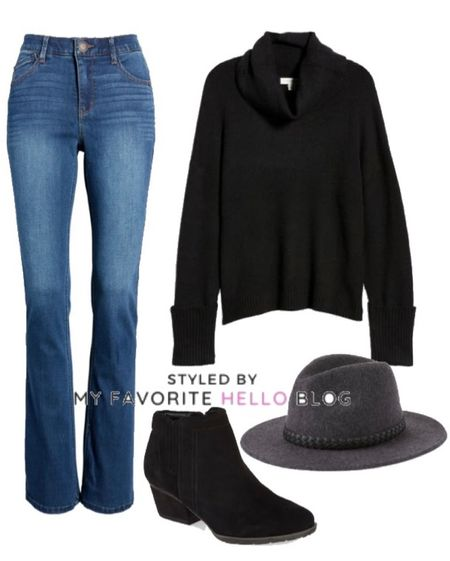 Fall outfit idea with bootcut jeans, black sweater, wool hat and black booties   #LTKSeasonal #LTKunder50 #LTKunder100