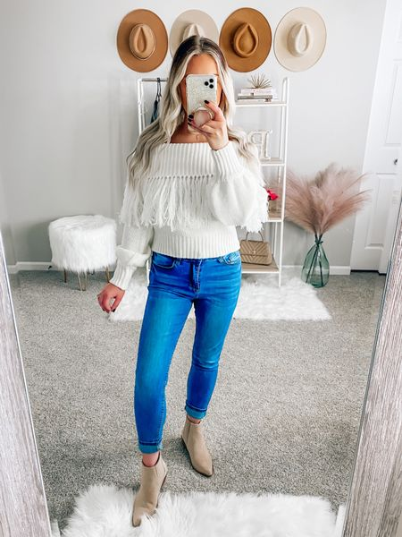 ✨BLONDEBELLE✨ to save! Wearing a size small! Also comes in black!  . . . Fall sweater, fringe sweater, cream sweater, fall, fall outfit, pink lily boutique, off the shoulder sweater   #LTKunder50 #LTKSeasonal #LTKstyletip