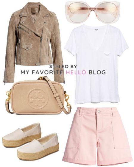 Summer shorts outfit with pink shorts and espradrille flats. #summeroutfit #pinkshorts   #LTKshoecrush #LTKitbag #LTKtravel
