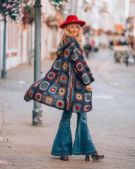 Crochet love ❤️  Granny square crochet coat! Are you ready for autumn?  #LTKautumn #crochet @liketoknow.it #liketkit http://liketk.it/2V580