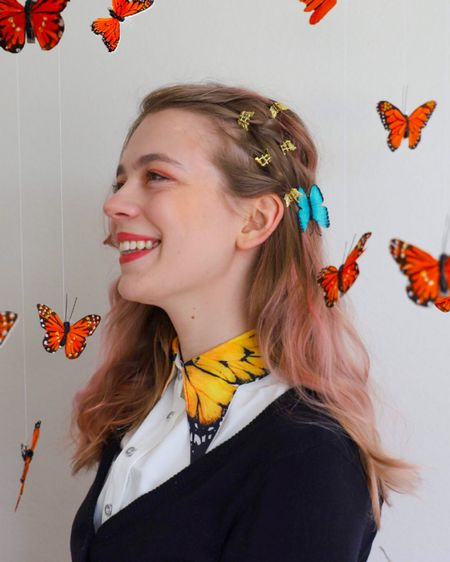 Butterfly hair accessories clips and classic black cropped cardigan  http://liketk.it/2OCwo #liketkit @liketoknow.it
