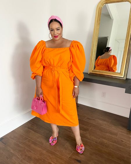 http://liketk.it/3fFMN #liketkit @liketoknow.it #LTKcurves , spring, orange dress, brunch plus size, style