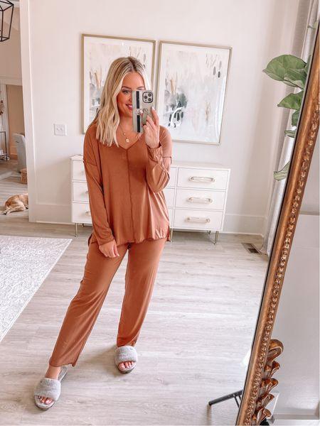 Wearing small in pajamas (ALEXA40 for discount) // slippers true to size // loungewear //   #LTKshoecrush #LTKstyletip #LTKunder50