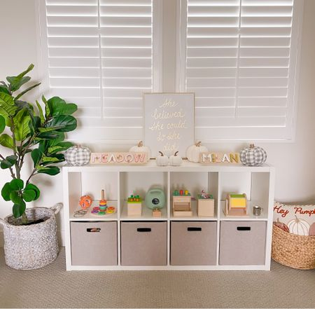 Here's another way to use the 8 cube bookcase. Lower shelves can be storage and top shelf can rotate toys! #ad This is a great way to organize kids toys on a budget!   #LTKfamily #LTKkids #LTKhome