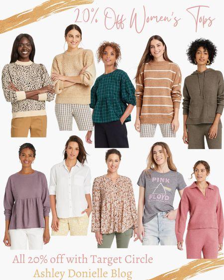 20% off women's tops from Target - blouse, sweater, graphic t-shirt, button-up shirts!  #LTKstyletip #LTKsalealert #LTKunder50