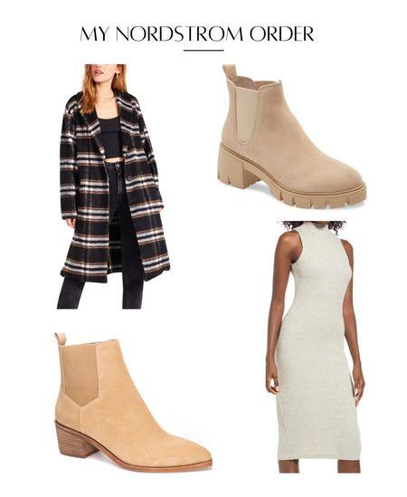 Plaid coat pea coat Chelsea boot neutral booties maternity fall fashion   #LTKshoecrush #LTKSeasonal #LTKstyletip