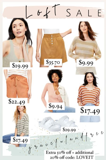 Loft sale alert. Snap paper bag pocket skirt, boat neck sweater, drawstring pull on shorts in linen blend, ribbed Henley top, ribbed button sweater tank.    http://liketk.it/3jY4f #liketkit @liketoknow.it #LTKsalealert #LTKunder50 #LTKstyletip Shop your screenshot of this pic with the LIKEtoKNOW.it shopping app