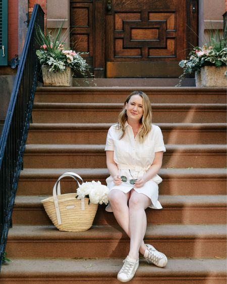 Madewell shirt dress (M) and golden goose sneakers with market tote straw basket @liketoknow.it http://liketk.it/3h5jY #liketkit