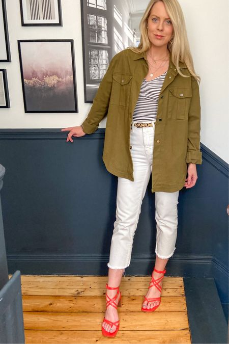 http://liketk.it/2OTVK #liketkit @liketoknow.it casual outfit ideas, utility jacket, shacket, outfit styles, white jeans outfit, red heels, white jeans ideas