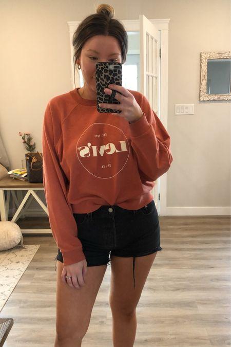 Levi's crew sweatshirt  Black denim shorts  Orange   http://liketk.it/3iVhu #liketkit @liketoknow.it #LTKstyletip #LTKunder100 #LTKunder50