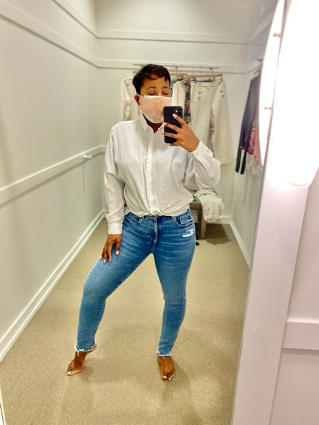 You can never go wrong with a classic button down white shirt and fitted jeans #loft #loftimist #casualoufit #chiccasual  #LTKstyletip #LTKsalealert