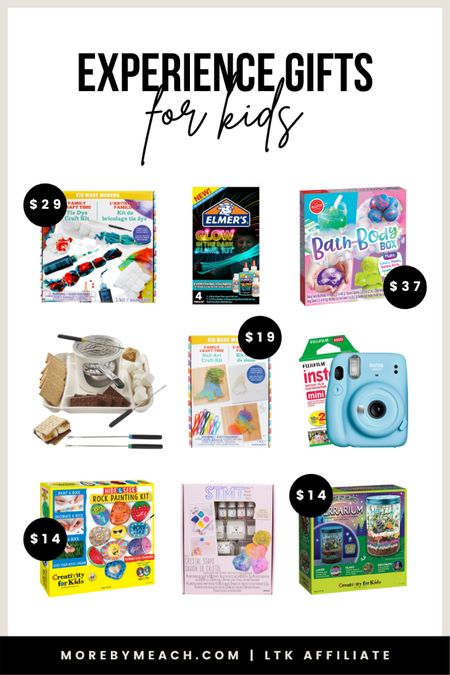 Christmas Gift Guide - Experience Gifts for Kids! Get 50+ ideas on my blog, morebymeach.com!    crafts for kids, activities for kids, games for kids, s'mores maker, s'mores machine, instant camera, instax camera, art set for kids, kids games   #LTKkids #LTKGiftGuide #LTKHoliday